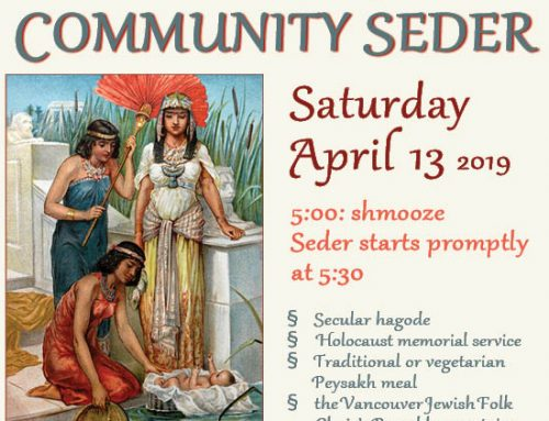 Community Seder Saturday, Apr. 13